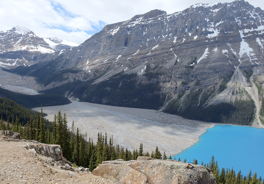 The Peyto Lac not quite full yet from the snow melting down the glaciers
