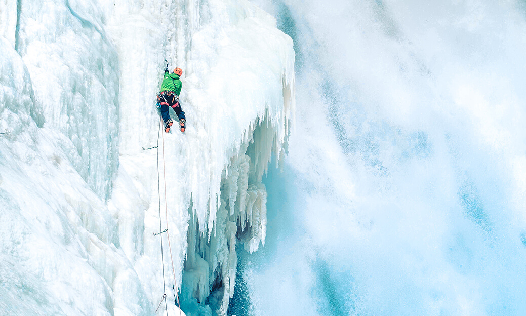 Benoit Chamberland ice climbing the Montmorency Falls in Quebec City
