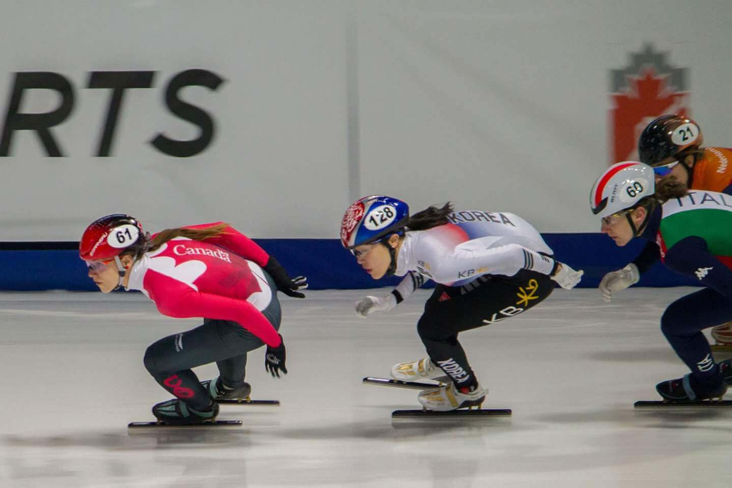 Kasandra Bradette in the middle of a speed skating competition
