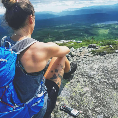 The olympian Kasandra Bradette wearing her LOWA boots during a hike