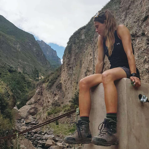 The olympic athlete, Kasandra Bradette, wearing her LOWA Mauria GTX trekking boots
